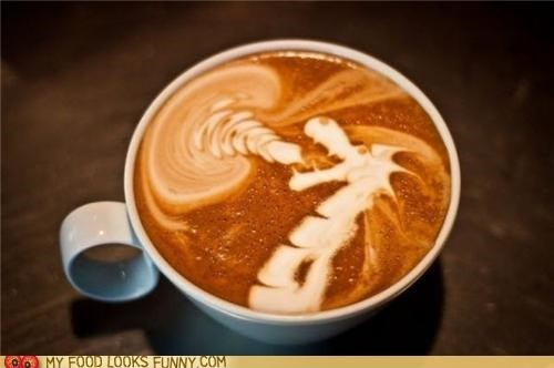 art,coffee,dragon,fire,foam,latte
