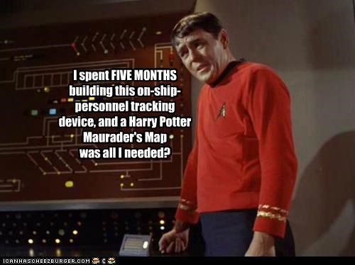 james doohan,marauders map,potter,scotty,Star Trek,tracking
