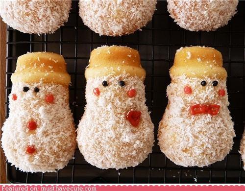 cakes,cheeks,coconut,epicute,faces,hats,snowman