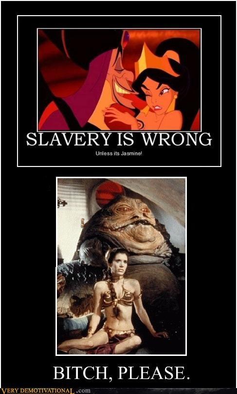 hilarious,princess jasmine,slave leia,slavery