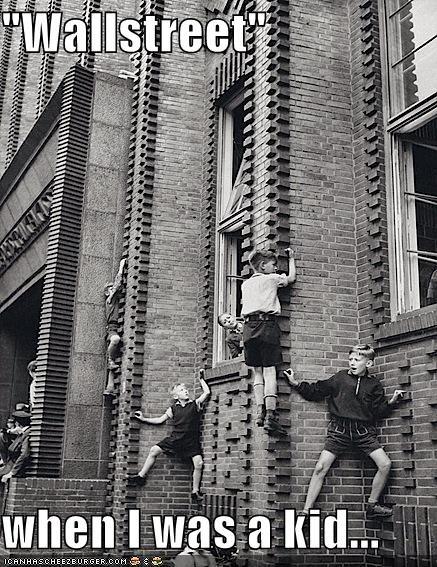 brick wall,climb,climbing,historic lols,kids,pun,vintage,wallstreet,wordplay