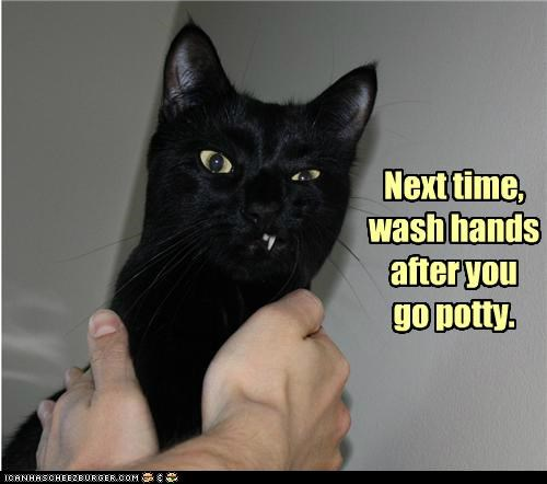 Next time, wash hands after you go potty.