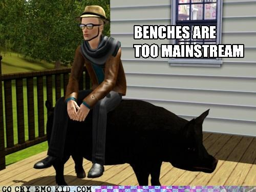 bench,hipsterlulz,ironically,pig,Sims