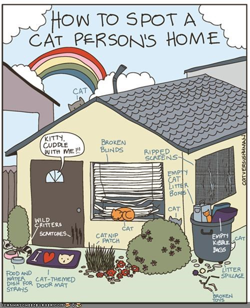 Kitteh Komic ob teh Day: How To Spot a Cat Person's Home