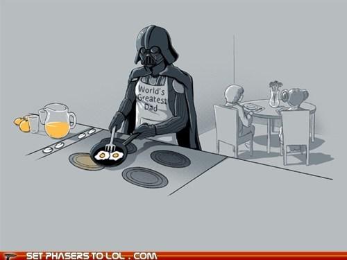 breakfast,dad,darth vader,luke skywalker,Princess Leia,star wars,worlds-greatest-dad