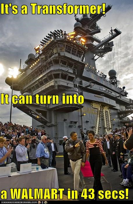 aircraft carrier,barack obama,Michelle Obama,political pictures,transformers