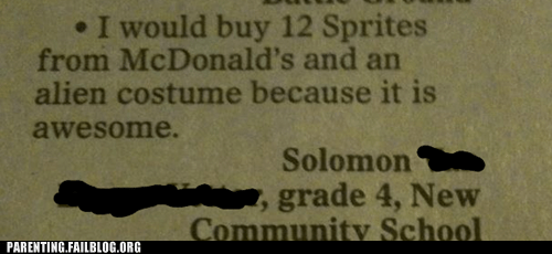 allowance,Awesome Kid Alert,costume,kids are dumb,McDonald's,money,newspaper,Parenting Fail,spending