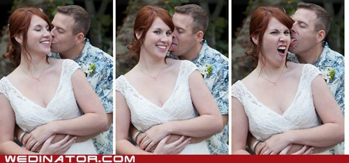 bride,ear,funny wedding photos,groom,KISS,tongue