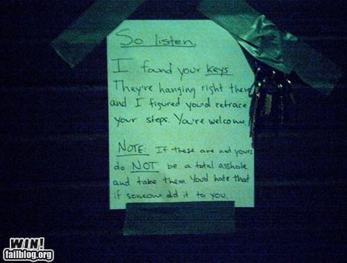 gesture,good samaritan,keys,lost and found,note,sign