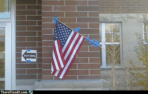 AMERRICA,flag,holding it up,tape,tax dollars at at work