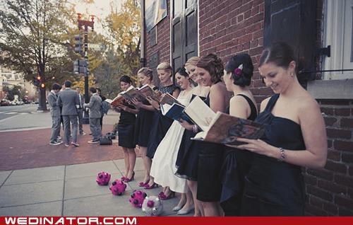 books,bride,bridesmaids,funny wedding photos,geek,Harry Potter,reading