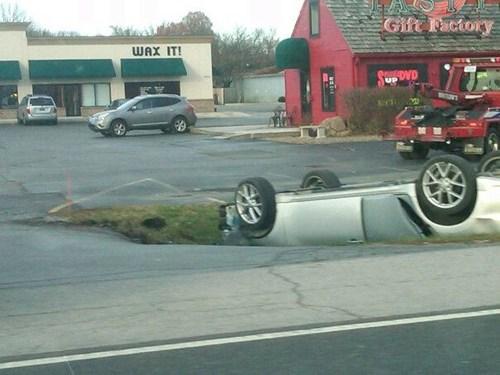 cars,caution,crash,ditch,flip,g rated,hole,upside down