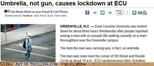gun,IRL,lockdown,news,umbrella