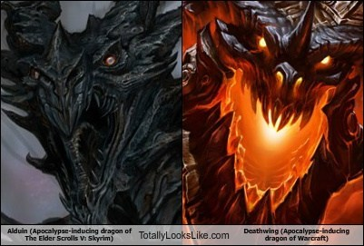 Alduin (Apocalypse-inducing dragon of The Elder Scrolls V: Skyrim) Totally Looks Like Deathwing (Apocalypse-inducing dragon of Warcraft)
