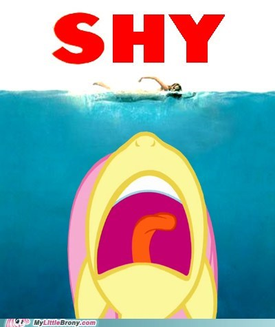 crossover,fluttershy,iconic,jaws,Movie,Theme Song,yay