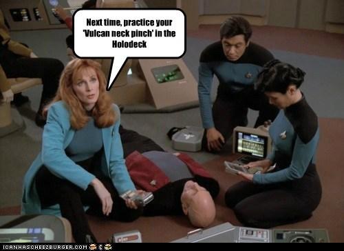 doctor beverly crusher,gates mcfadden,holodeck,patrick stewart,Star Trek,vulcan neck pinch