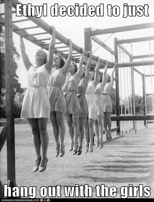 fitness,hang out,hanging out,historic lols,monkey bars,vintage,women
