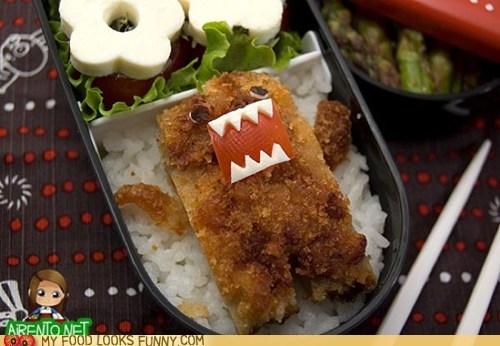 bento,domo,fried,pork,rice,tonkatsu