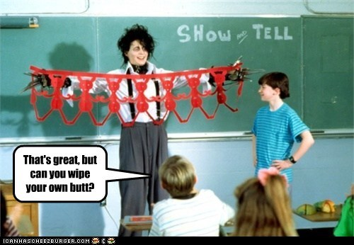Edward Scissorhands,Johnny Depp,show and tell,wipe wiping