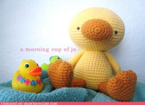 Amigurumi,Crocheted,duck,Plush,toy,yellow