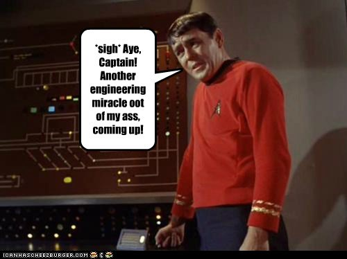 captain,engineering,james doohan,miracle,scotty,Star Trek