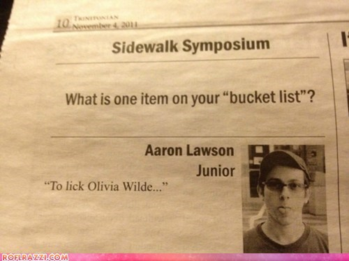 "What is One Item on Your ""Bucket List""?"