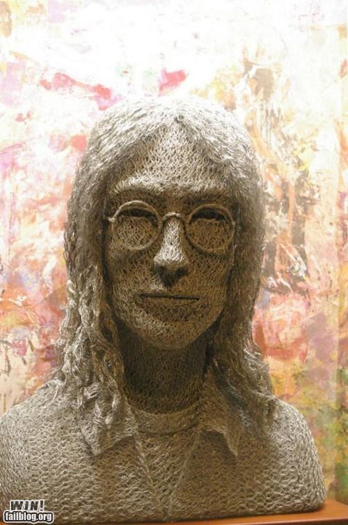 art,bob marley,bust,celeb,chicken wire,jimi hendrix,john lennon,sculpture