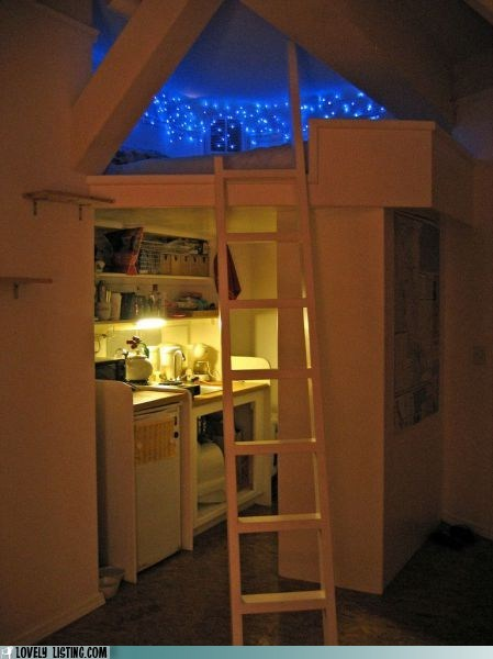 bed,ladder,lights,loft,stars