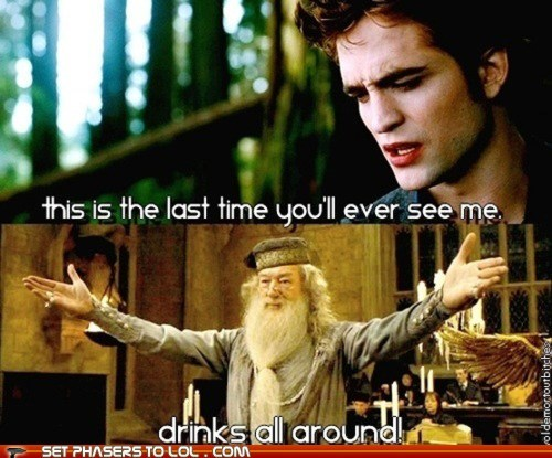 drinks,dumbledore,edward cullen,Michael Gambon,robert pattinson,twilight
