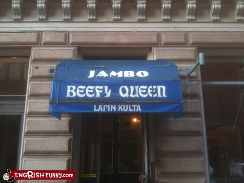 beefy queen,jambo,restaurants,signage fail