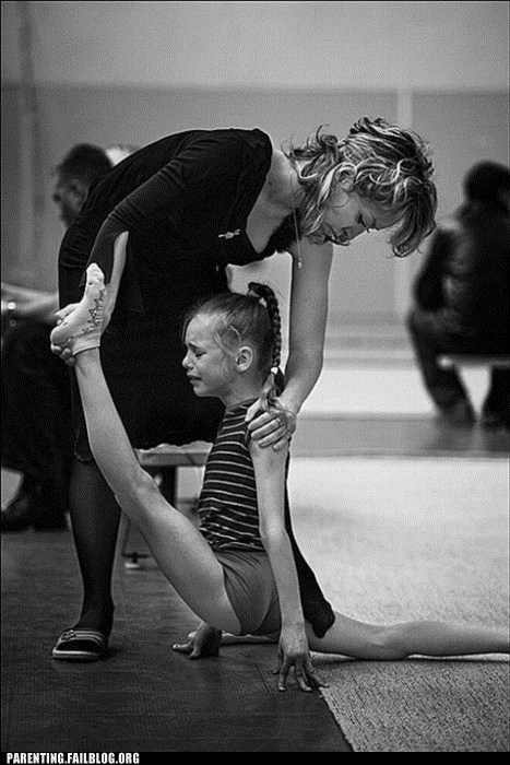 ballet,do not want,gymnastics,ouch,Parenting Fail,stretching