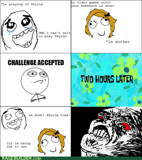 homework,mothers,Rage Comics,Skyrim,video games