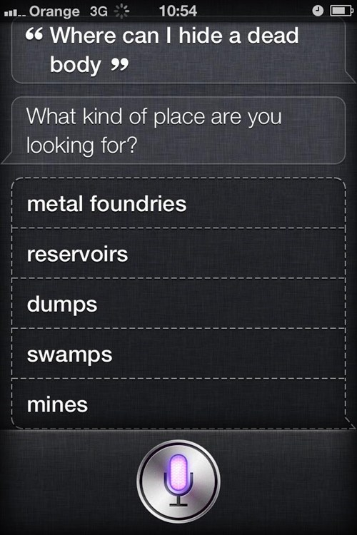 Siri. Making Murder that little bit easier.