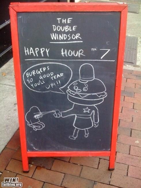 99,chalk,Occupy Wall Street,Pepper Spray Cop,police,restaurant,sign