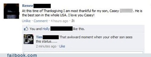 oh snap,oops,parents,son,thankful,thanksgiving