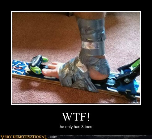 duct tape,hilarious,ski,toes,wtf