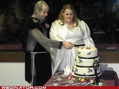 bride,cake,cut cake,funny wedding photos,groom,knight,maiden,medieval,wedding cake