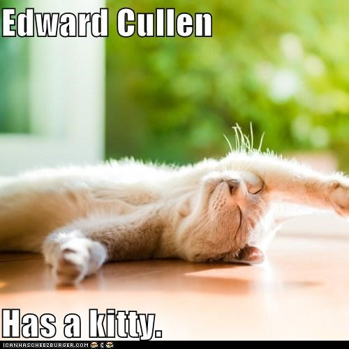 Edward Cullen  Has a kitty.