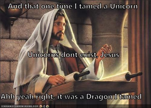 are you drunk,are you high,dragon,jesus,tamed,unicorn,what is wrong with you,wtf
