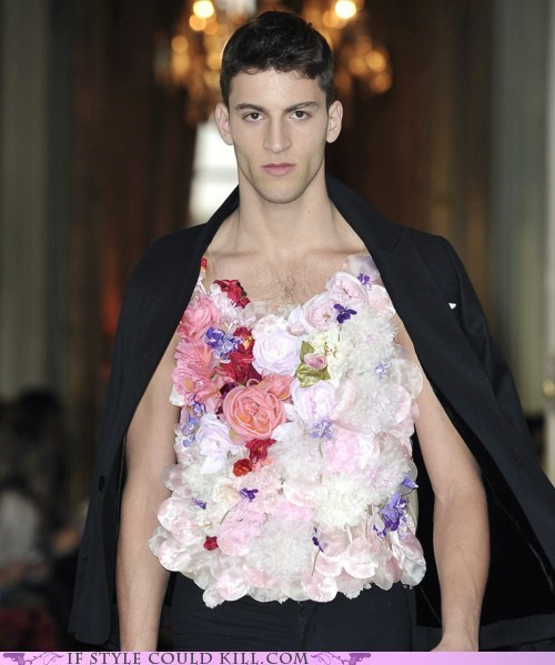 alexis mabille,cool accessories,flowers,mens,menswear,runway