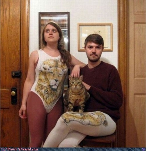 Looks like the cat's the only embarrassed on in the photo