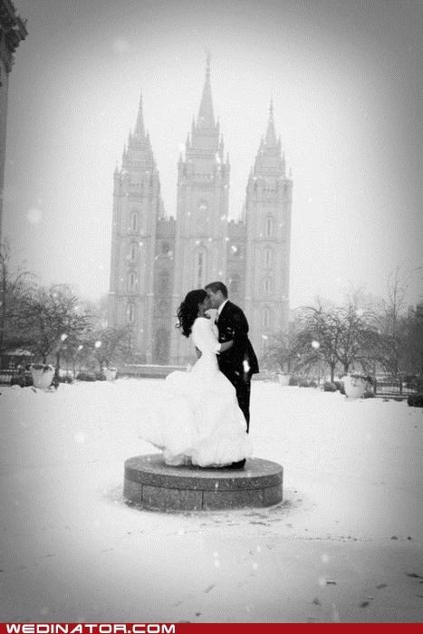 bride,funny wedding photos,groom,Hall of Fame,KISS,snow