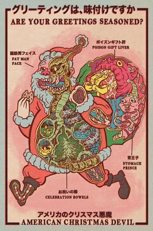 anatomy,Chart,creepy,cross section,oh Japan,santa,weird