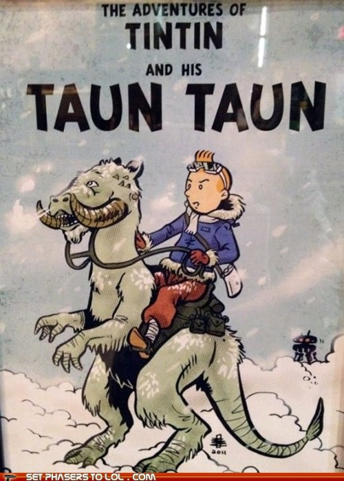 art,comic book,smell,star wars,tauntaun,Tintin