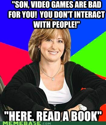 book,interaction,Memes,mom,son,video games