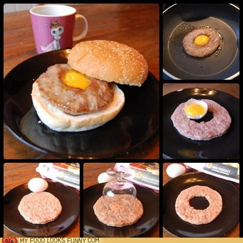 breakfast,bun,egg,genius,hole,patty,sandwich,sausage