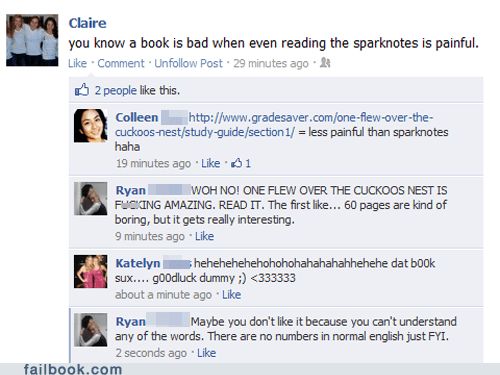 facepalm,literature,one-flew-over-the-cuckoos-nest,reading,sparknotes