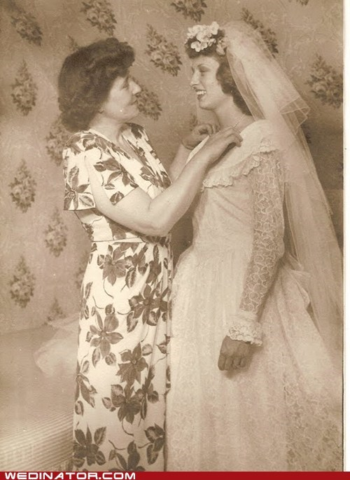 My grandmother on her wedding day in 1946, with her mother she saw this wedding dress in a store adn went home and her and her mother made it by hand
