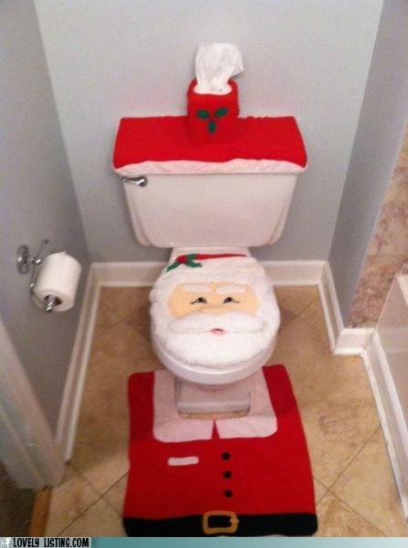 awful,christmas,decor,santa,scary,toilet