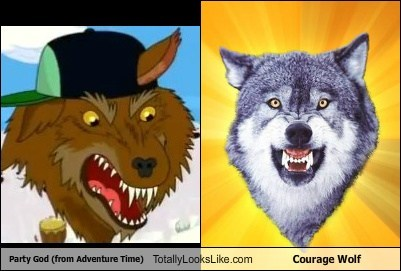 Party God (from Adventure Time) Totally Looks Like Courage Wolf